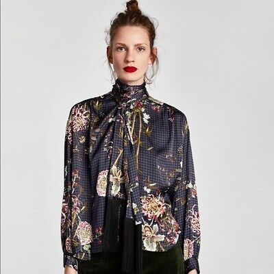 Zara Woman Floral Blouse With Fringe And Bow size XS Tie Neck Long Sleeve Top