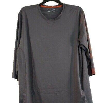 Under Armour Mens HeatGear Fitted Gray Shirt Orange Detail 3/4 Sleeve 2XL NWT