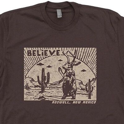 Roswell Jackalope T Shirt Ufo Believe X Files Mens Tee New Mexico Area 51 Aliens