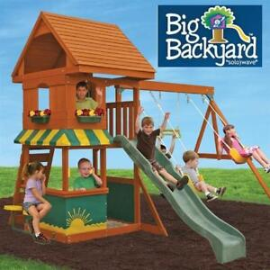 NEW BIG BACKYARD WOODEN SWING SET F23290 135466245 MAGNOLIA PLAYGROUND PLAYSET PLAYGROUNDS PLAYSETS SWINGS SLIDE SLID...