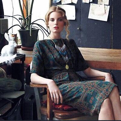 - Anthropologie Nieves Lavi Four Corners Dress 4 Silk Medallion Print Dolman