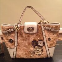 Coach natalie straw and leather bag