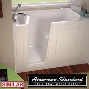 "NEW* AS GELCOAT 54"" WALK IN TUB - 115909370 - AMERICAN STANDARD WHITE INCLUDES EXTENSION TO 60"" BATH TUBS BATHTUB BAT..."