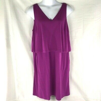 Lauren Ralph Lauren Women's Plus V-Neck Layered Purple Tank Dress Size 2X