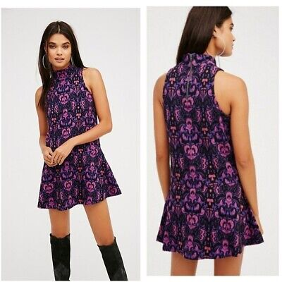 New Without Tag Women's Free People Pink/Purple Print Knit Dress Size Small