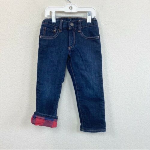 Gap Plaid Lined Dark Blue Denim Jeans Toddler Boy size 3