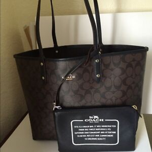 REAL COACH Signature Reversible City Tote/Travel Pouch Brown