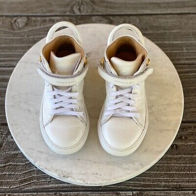 Kids Unisex 100MM WHITE High Top Sneakers Italian Leather Hype