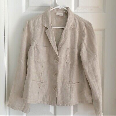 Chicos 1 Jacket 100% Linen Button Front Size Medium Long Sleeve Spring Summer 59