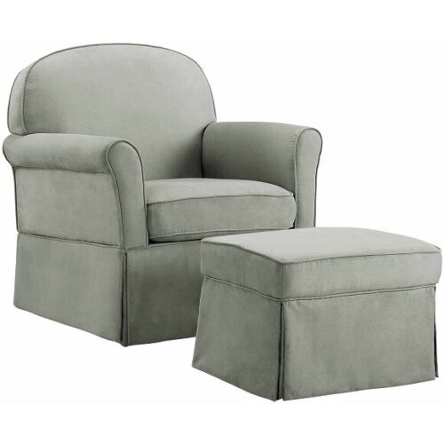BABY RELAX EVAN SWIVEL GLIDER & OTTOMAN, GRAY *DISTRESSED PACKAGING*