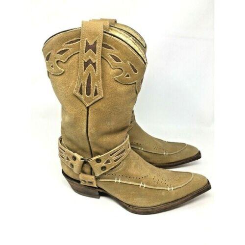 Mens, Rudel, Tan, Distressed, Suede, Leather, Cowboy, Boots, Western, NWOT, sz, 7.5, EE