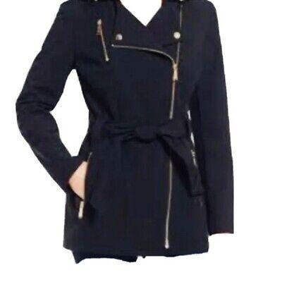 MICHAEL KORS Womens's Size XS Black Asymmetrical Soft shell Rain Jacket No Belt