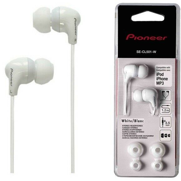 Pioneer SE-CL501-W Fully Enclosed Dynamic In Ear Headphones SECL501 White