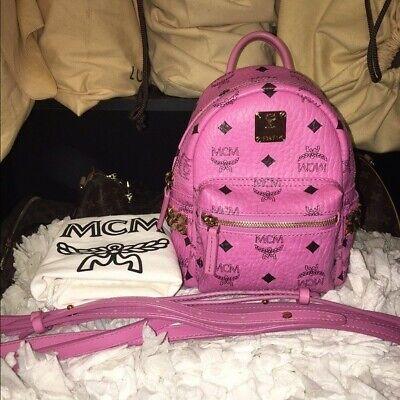 Authentic MCM Studded X-Mini Stark Backpack Crossbody Pink