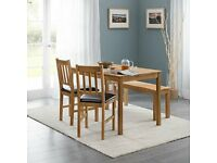 NEW BOXED Coxmoor oak table + 2 dining chairs + bench.