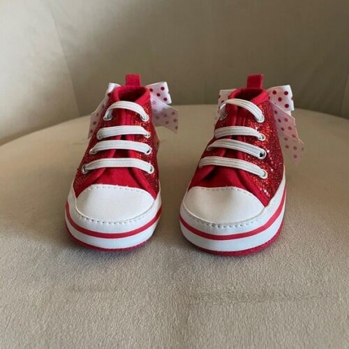 Baby Red Sequin Bow Detail Sneakers Size 3-6 month