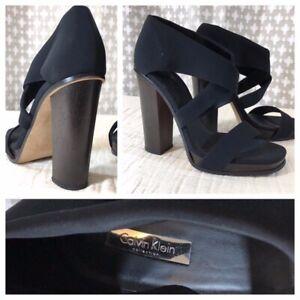 df976a9b8ae4 CALVIN KLEIN COLLECTION Black Chunky Wood Heel 40 Brown 10 EUC