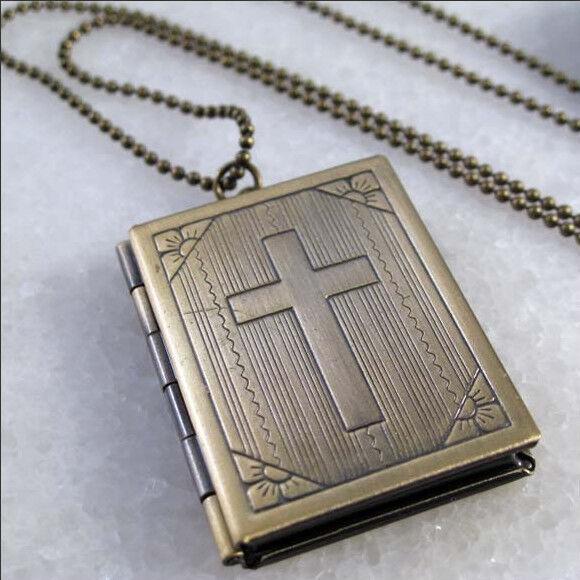 Cross Bible Book Vintage Brass Picture Locket Pendant Necklace