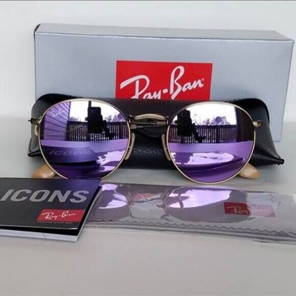 New Ray-Ban RB3447 Round Metal Sunglasess