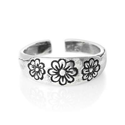 Flower Design Toe Ring Solid Sterling Silver 925 USA Seller Adjustable Jewelry ()