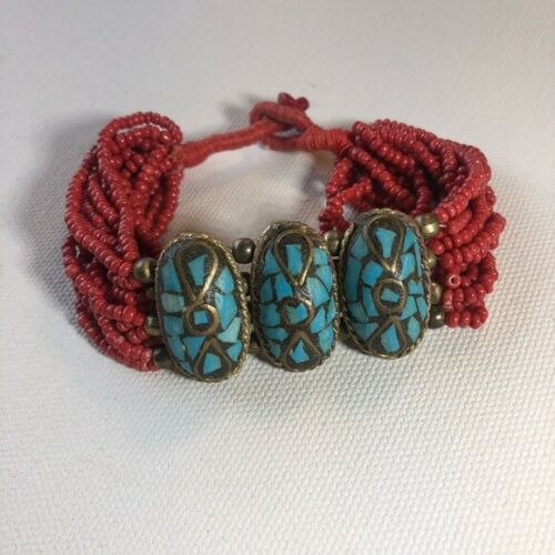 Vintage Faux Turquoise Western Red Bead Bracelet