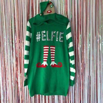 No Boundaries Juniors Green Ugly Christmas Sweater Tunic Hooded #elfie sequin XL