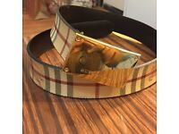 Mens Burberry Belt with Gold buckle