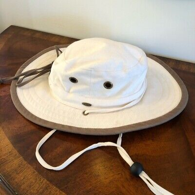 Scala Fishing Boating Sun Hat Size Small Ivory and Brown Floppy Packable 131  Ivory Sun Hat
