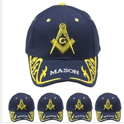 Blue Gold Mason Hat Masons Freemason Masonic Lodge Ball Cap Men Women Christmas