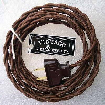 Brown Lamp Cord - Dark Brown Cloth Covered Wire Vintage Rewire Kit Lamp Cord Fan Antique Restore