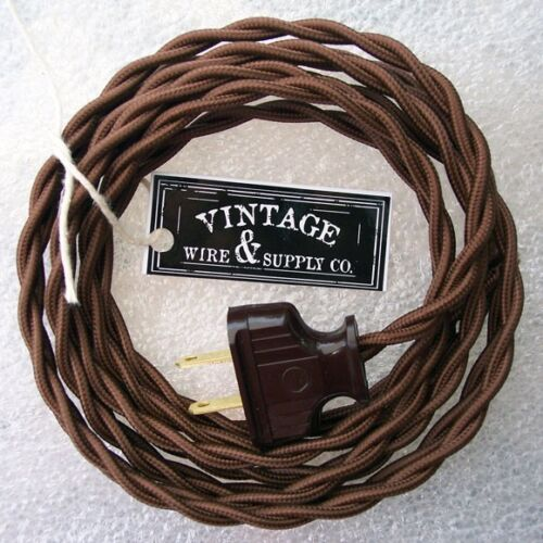 dark brown cloth covered wire vintage rewire kit lamp cord fan antique restore ebay. Black Bedroom Furniture Sets. Home Design Ideas