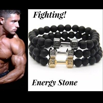 Us Seller Gym Energy Stone Bracelet Beaded Fashion Men Women Bead Gold Black Sil