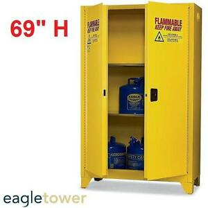 """NEW EAGLE TOWER 69"""" SAFETY CABINET YELLOW STEEL 2DOOR FLAMMABLE LIQUIDS SAFETY CABINETS WAREHOUSE WORKPLACE STORAGE"""