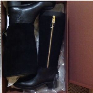 Brand New Coach Bailey Black Leather And Suede Knee High Boots
