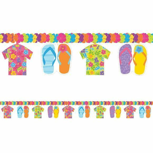 7.5ft Hawaiian Luau Flower Flip Flop Shirt Party Tiki Beach Banner Decoration