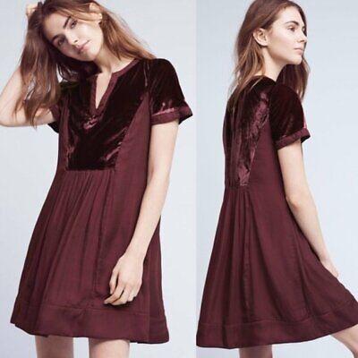 Anthropologie Maeve Plum Purple Velvet Short Sleeve Swing Mini Dress