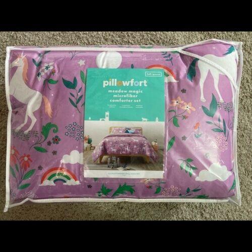 Full/Queen Unicorn Rainbow Meadow Magic Microfiber Comforter Set Sham Pillowfort