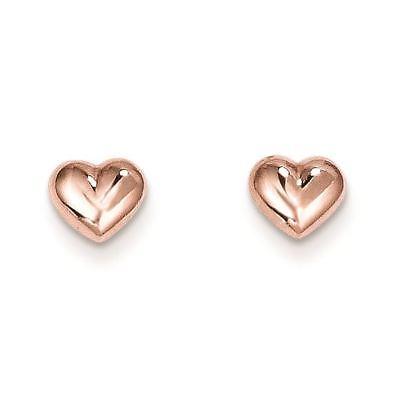 14K Rose Gold Madi K Children's 7 MM Heart Post Stud Earrings MSRP