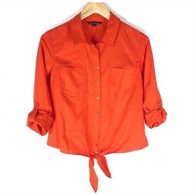 Zac & Rachel Shirt Orange Tie Front Roll Tab Sleeves Womens Top Size Medium Tab Front Shirt