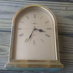VINTAGE Brass Gold Howard Miller Quartz Desk Mantel Clock - not Working