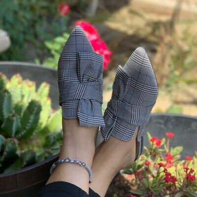 Plaid Bow (Ladies plaid pointed toe front bow flat mules. size 6,6.5,7,7.5,8,8.5,9,10,11)