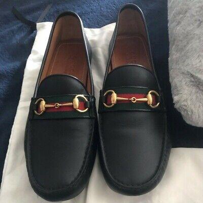 BRAND NEW - Gucci Black Leather Horsebit Drivers Shoe w/ Web - Men's - 10