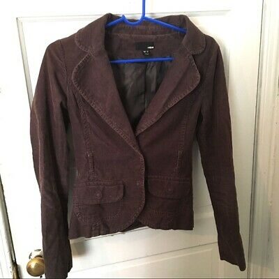 H and M corduroy blazer jacket size 4 brown cord h&M
