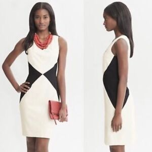 Banana Republic - Cream and Black Diamond Dress