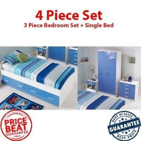 Brand New Carleton 4 Piece Bedroom Set with 3FT Single Bed and 3 Piece Bedroom Set - Blue/White