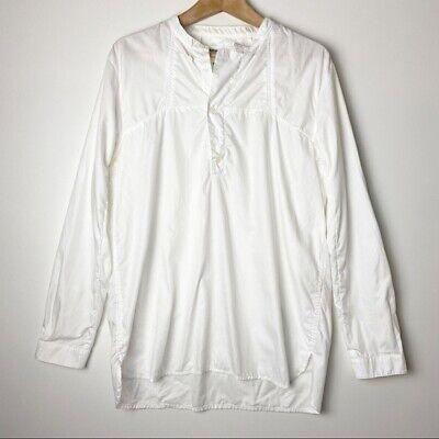 Henrik Vibskov women's cotton long sleeve white tunic button neck top size: S