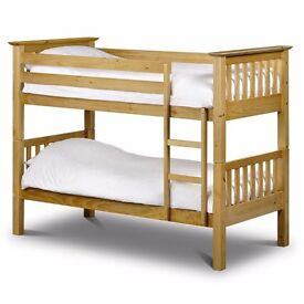 Brand new wooden bunk bed in white color