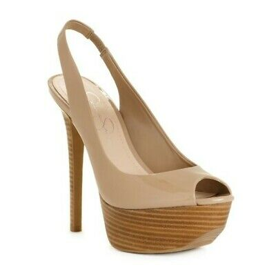 Jessica Simpson Nude patent peep toe wood heel with platform