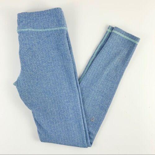 Ivivva Lululemon Blue Herringbone Fitted Athletic Leggings Girls Size 12
