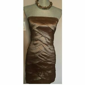 DYNAMITE SCALLOPED BRONZE MINI DRESS